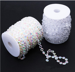 clear bead garland UK - 99FT 30 Meters Garland Diamond Strand Acrylic Crystal Bead Beaded Wedding Decoration
