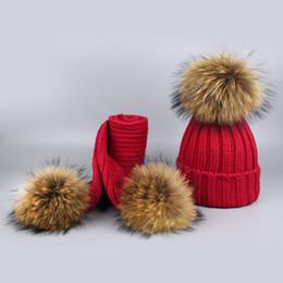 6690f222e61 Winter Thick Hat Scarf Children Winter Warm Hats Scarves Pompoms Boys Girls  2 Pieces Kids 15cm real fur Hat Scarf suit sets