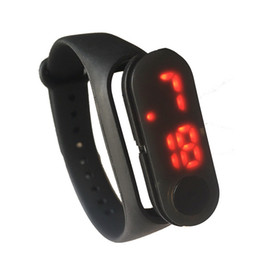 Wholesale Plastic Watch Bands UK - Digital Sports Watch For Men LED Display Wristband With Silicone Strap Fashion Electronic Students Watches Black Detachable Band