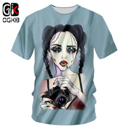 $enCountryForm.capitalKeyWord NZ - OGKB Summer Tops Funny Print Smoking Camera Girl 3D T-shirts For Men women Hiphop Streetwear O Neck Short Sleeve Tee Shirt Homme