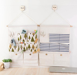 $enCountryForm.capitalKeyWord Canada - hanging storage bags 7 pockets door bag home organizer printed cotton linen wall decorative sundries jewelry closet pouch bags