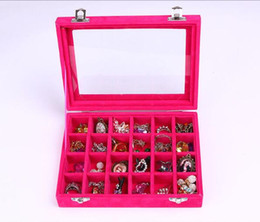 Wood pieces necklaces online shopping - 100pcs NEW Grids Velvet Jewelry Box Rings Earrings Necklaces Makeup Holder Case Organizer Women Jewelery Storage lin3940