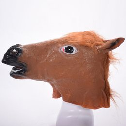 $enCountryForm.capitalKeyWord UK - Hot sale Horse Head Mask Creepy Fur Mane Latex Realistic Crazy Rubber Super Creepy Party Halloween Costume Animal Mask