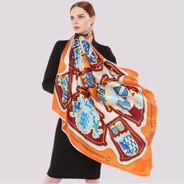 Discount thick headbands - Bandana Headband Scarf Hijabs,100% Pure Silk Scarf Wraps,Winter Thick Silk Shawls,110*110cm Square Floral Printed Female