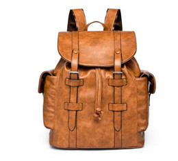 Brown laptop Bags online shopping - 2 colors hot new male women hiking bag School Bags pu leather Fashion designers backpack women travel bag backpacks laptop bag CM