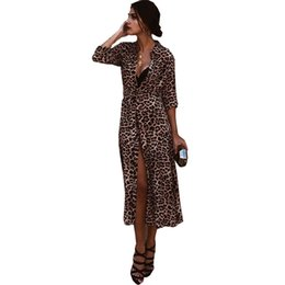 leopard print lining Australia - hot sexy leopard print long sleeve a line shirt maxi dress for party casual lady fashion evening