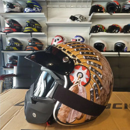 $enCountryForm.capitalKeyWord Australia - Vintage 3 4 Open Face Motorcycle Cruiser Riding Scooter Helmet (H79 Black Yellow, L) S M L XL