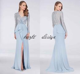 Sheer Bodice Sheath Prom Dresses NZ - Sky Blue Beaded Bodice Sheath Prom Pageant Gown with Asymmetric Peplum 2018 Modest Zuhair Murad Long Sleeve V-neck Evening Wear Dresses