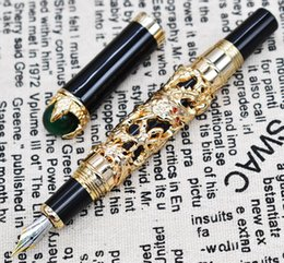 $enCountryForm.capitalKeyWord NZ - Jinhao Dragon King Vintage Fountain Pen , Green Jewelry Metal Embossing , Noble Golden Color Business Office School Supplies