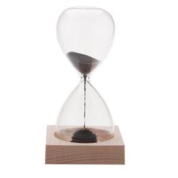 Chinese  PHFU 1pcs Magnet Hourglass Awaglass Hand-blown Sand Timer Desktop Decoration Magnetic Hourglass Black manufacturers