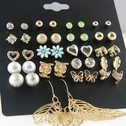 785544125241 Punk 20 pares paquete hoja Stud pendiente Set para mujeres moda Búho  mariposa corazón encantos Ear Studs joyería perla simulada Brincos