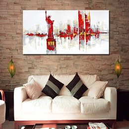 $enCountryForm.capitalKeyWord Australia - Large Canvas Home Decor Wall Art Pictures Hand painted Abstract Landscape Oil Paintings Handmade Knife Red New York City Painting