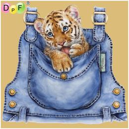 Tiger Tools Australia - DPF Round Diamond Painting Cross Stitch blue bag tiger Diamond Embroidery Rhinestone Diamond Mosaic Needlework Decor art crafts