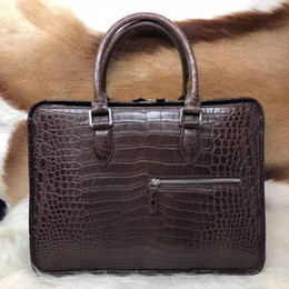 100% Genuine Real Crocodile Skin Leather Men Business Bag, Men Briefcase  Laptop Bag Top Handbag Black Brown Coffee Color cacc5a68b9