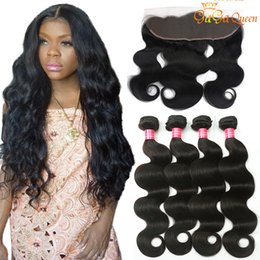 brown hair bundle 2019 - Brazilian Virgin Human Hair Body Wave With Lace Frontal Closure 13x4 Ear to Ear Lace Frontal Closure With Hair Bundles B