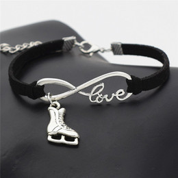 ice bracelets Canada - High Quality Infinity Love Ice Roller Skates Bracelet Handmade Charm Black Leather Rope Chain Wrap Bangles Women Men Male Wrap Metal Jewelry