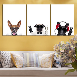 Аннотация Бесплатная доставка Mordern Nordic масляной живописи HD собака животных стены холст искусства модульная живопись на стене нет рамки 3 шт.