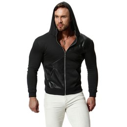$enCountryForm.capitalKeyWord NZ - Mens Leather Panelled Casual Cardigan Hoodies Male Solid Color Thin Tops Long Sleeve Sweatshirts Autumn Winter Pullover