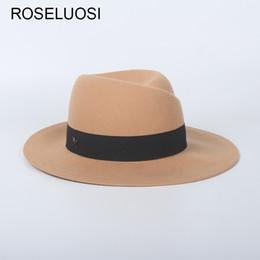 bfe8470c6bc08 ROSLEUOSI Autumn Winter Wool Fedora Hats For Women Men Solid Color Felt Hat  Trilby Caps Ladies Panama Hat