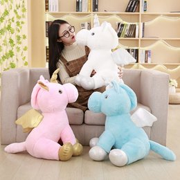 Discount wholesale knitted toys - Kawaii Unicorn Plush Toy Doll with Blanket Soft Animal Horse Toy Stuffed Unicorn Peluches for Home 40cm MMA763