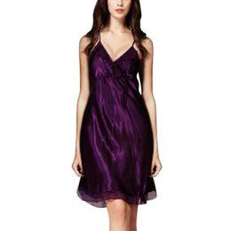 06deafa512 2016 Women Silk Satin Nightgown Lace Nightdress Sexy Night Dress Sleeveless  Sleepdress V-neck Sleepwear Nightwear For Summer.