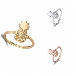 Wholesale Oly2u New Fashion Cute Pineapple Rings Simple Funny Outline Fruit Rings Lovely Ananas for Women Party Gift R142