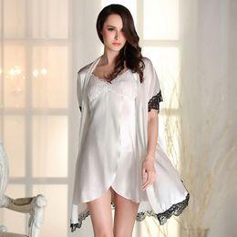 57d1588d47 Elegant Women Silk Sleepwear Set Lace Lingerie Satin Bathrobe and Mini  Night Dress Summer Lounge Set 2 Pieces