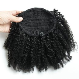 China Easy Ponytail Hairstyles Clip In Human Ponytail Hair Extensions Kinky Curly Drawstring pony tail Afro puffs Virgin Curly pony tails 120g 1b supplier afro ponytail hairstyles suppliers