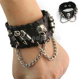 $enCountryForm.capitalKeyWord NZ - Black Rock Punk Biker Men's Gothic Cowhide Leather Bangle Skeleton Chain Wristband Bracelet Jewelry Hot Christmas Gifts