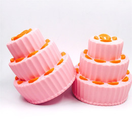 Living fairy online shopping - Hand Squeeze Toy Three Tier Orange Cake Bread Squishy Lifelike Elastic Anti Stress Simulation Food Squishies High Quality sy CB