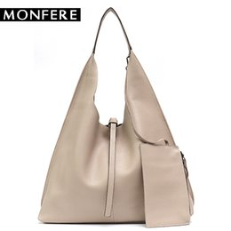 large hobo purses UK - MONFE Genuine Leather Hobo Bags Women Casual Large Tote String Cowhide Shoulder Bags High Quality Brand Handbag Coin Purse Liner D18102303