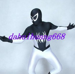 spider man cosplay suit NZ - Black White Lycra Spandex Spiderman Suit Catsuit Costumes Unisex Spider-Man Costumes Halloween Party Fancy Dress Cosplay Costumes DH283