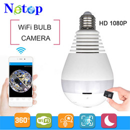 Home infrared security systems online shopping - Netop P P WiFi Panoramic bulb security cameras Home Security camera system wireless IP D Fish Eye monitor light Bulb camera