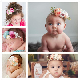Flowers baby girl photos online shopping - Baby Headbands Set flowers Girls Kids Nylon hairbands Set Cute beach Bohemian Hair Accessories Photo Prop party Hairband KHA292