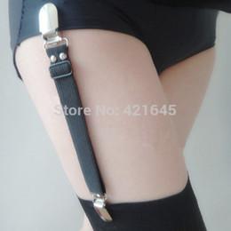 173b69665 Women Handmade punk garters two Duckbill Metal Clips high Elastic Spandex  garters belt Buckle female sexy Stockings Suspender