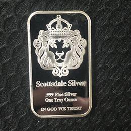 $enCountryForm.capitalKeyWord Australia - 5 pcs pcs Non magnetic The American Scottsdale lion head bar silver plated bullion bar ingot 50 mm x 28 mm vacuum package decoration coin