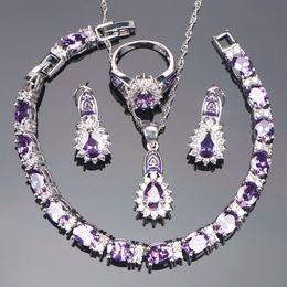 Jewelry Sets Rhinestone 925 Australia - Purple Bridal Jewelry Sets Women Costume Wedding Silver 925 Jewelry Rhinestone Earrings Rings Bracelet Necklace Set Gifts Box