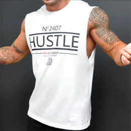Wholesale mens sexy tank resale online - Mens Tank Tops Sexy Fitness Bodybuilding Breathable Summer Singlets Slim Fitted Men S Tees White Black Tee M XL