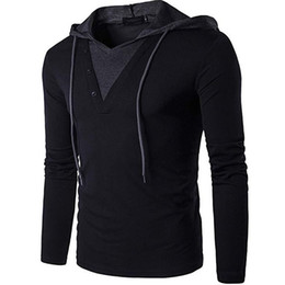 Chinese  Men's Casual Long Sleeve Slim Fit Hoodie Shirt Male Slim Fashion Tops Solid Color Stitching KC-B24 B26 B27 manufacturers
