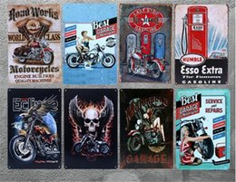 Discount car plaque - Vintage Metal Tin signs ESSO Extra Gasoline Metal Plaque Motorhead Car Garage Home Decor Bar Club Wall Art Painting Plat
