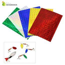 b760bfc40 Al por mayor-5pcs color mezclado cinta adhesiva holográfica de destello  para señuelo que hace atar Materail metal cebos duros etiqueta