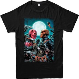 Toptan satış DC Comics T-Shirt, Deathstroke vs Redhood T-Shirt, InspiredTop (DCDRH) Tee T Gömlek YENI VARıŞ