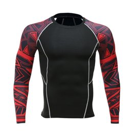 Wholesale Men crime compression shirt with long sleeves breathable quick dry flower arm T shirt bodice fitness weight lifting base layer