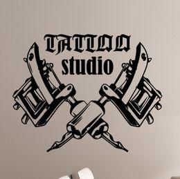 $enCountryForm.capitalKeyWord NZ - Removable Art Wallpaper Tattoo Machines Wall Stickers for Tattoo Salon Room Decor