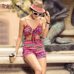 20188 Jumpsuits For Women 2018 Summer Hollow Out Sexy Deep V-Neck Bikini  Sling Bodysuit Female Bow Floral Print Beach Jumpsuit Talever 74014f04d