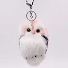 9 color Imitation rabbit fur owl keychain fashion fur bag car pendant cute  animal plush keychain charm fluffy plush d4793e1870c1
