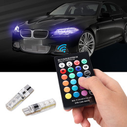 AdditionAl brAke light online shopping - 2pcs pair T10 Remote Control Car Led Bulb Smd Multicolor W5w Side Light Bulbs