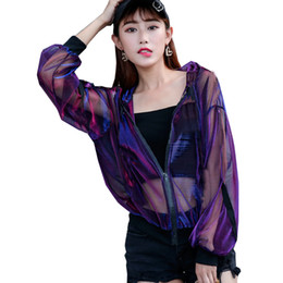 ropa rave al por mayor-Summer Rave Festival Wear Clothes Holographic Womens Hoodies Outfits Hologram Women Rainbow Metal Mesh Jacket Clothings