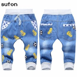 jeans for baby girls Canada - Kids Boy Jeans Pants Cartoon Children Clothes Pants Elastic Waist Toddler Girls Trousers Fashion Baby Jeans for 2-5 Years Summer