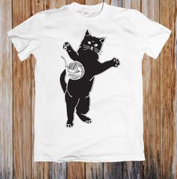 Custom Print T Shirt Cheap Australia - CAT PLAYING BALL OF YARN UNISEX T-SHIRT 100% cotton tee shirt custom printed tshirt free shipping cheap wholesale